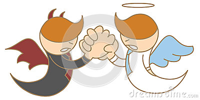 Angel and devil arm wrestling