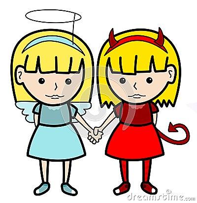 Free Angel Devil Twins Royalty Free Stock Image - 31026756
