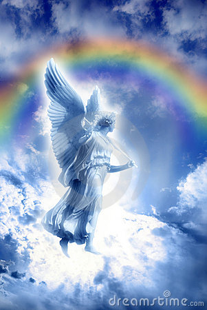 Angel with divine rainbow
