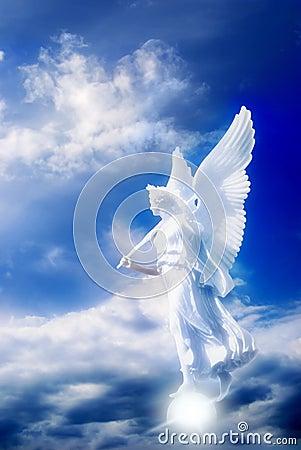 Angel in divine sky