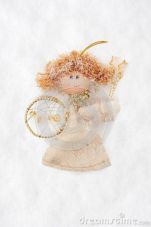 Free Angel Doll Made From Fabric On Snow Royalty Free Stock Photography - 28900687