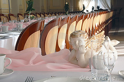 Angel figure & pink table