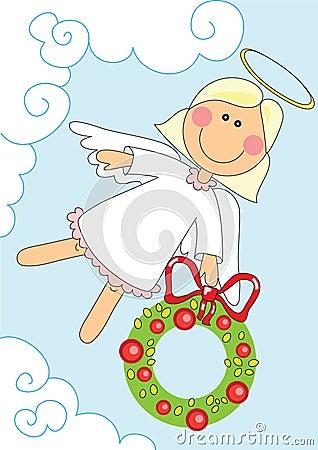 Angel girl with christmas garland