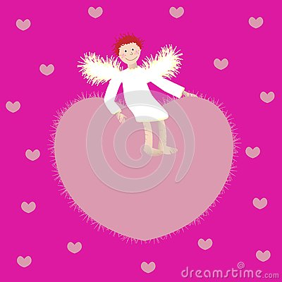 Angel and the heart on a pink background