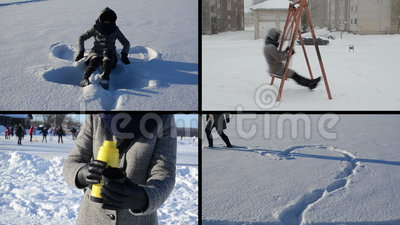 Angel and heart shape on snow snow fall tea drink girl for Love making swing