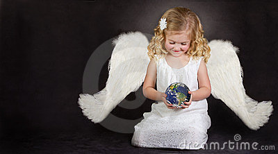 Angel holding the world in her hands