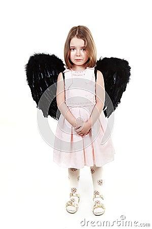 Angel little girl crying