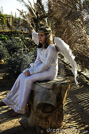 Angel - Old fashion christmas scenes. Editorial Photo