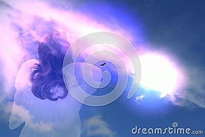 Angel pray clouds