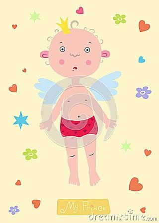 Angel-Prince baby boy card.
