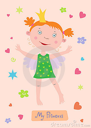 Angel-Princess baby girl card.