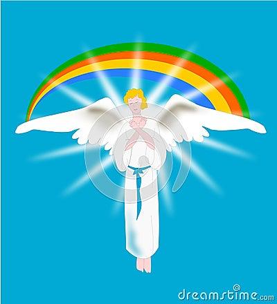Angel with rainbow