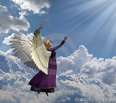 Free Angel Reaching For Heavenly Light Royalty Free Stock Image - 7048306