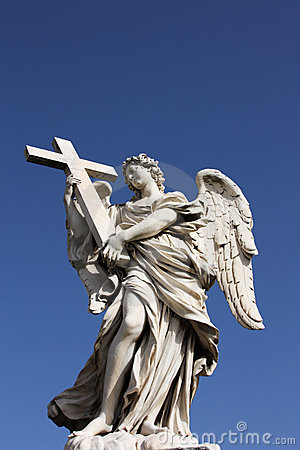 Free Angel Sculpture On San Angelo Bridge In Rome Royalty Free Stock Images - 7229149