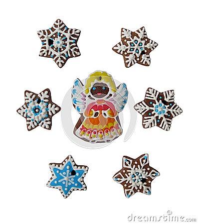 Angel among snowflakes (gingerbread)
