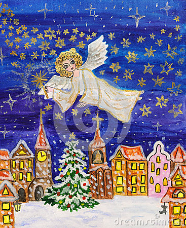 Angel with sparkler, Christmas picture