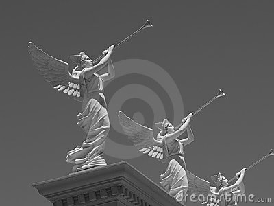 Angel Statues Blowing Trumpets Editorial Image