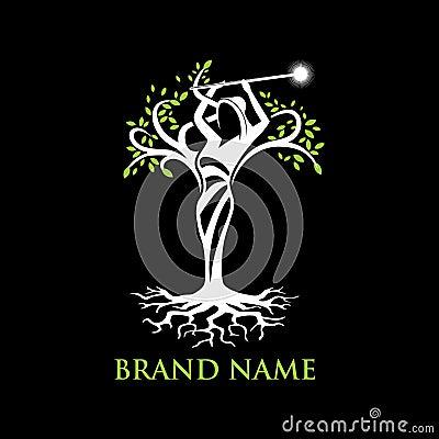 Angel tree logo Vector Illustration