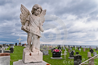 Angel under storm clouds