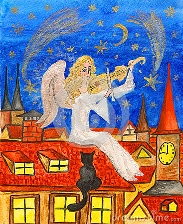 Angel with violin, painting