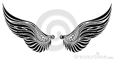 Angel wings isolated on white.Tattoo design
