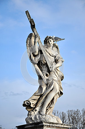 Free Angel With The Cross. Statue On The Ponte Sant  Angelo, R Stock Image - 68517161