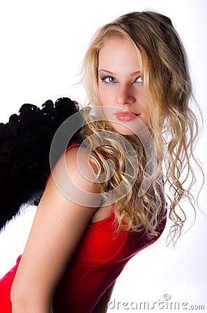 Angel woman in red dress