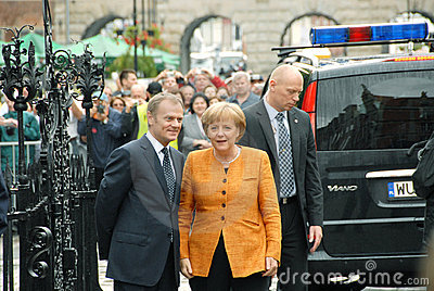 Angela Merkel and Donald Tusk Editorial Stock Image
