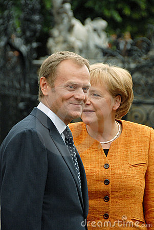 Angela Merkel and Donald Tusk Editorial Stock Photo