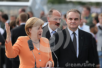 Angela Merkel and Waldemar Pawlak Editorial Photography