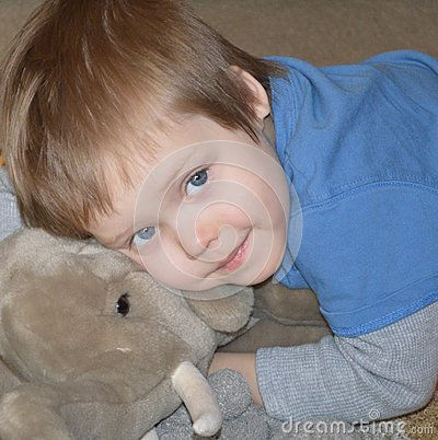 Angelic boy with elephant