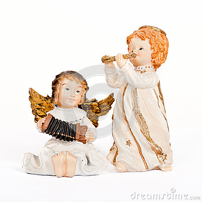 Free Angelic Figurines Playing Music Stock Photo - 30182050