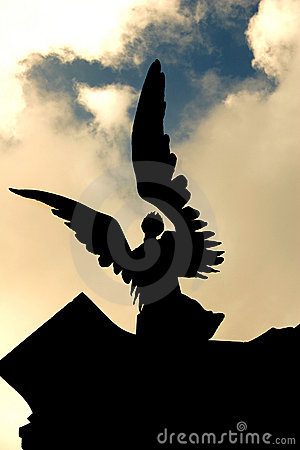 Free Angelic Statue Against Troubled Sky Royalty Free Stock Image - 571566