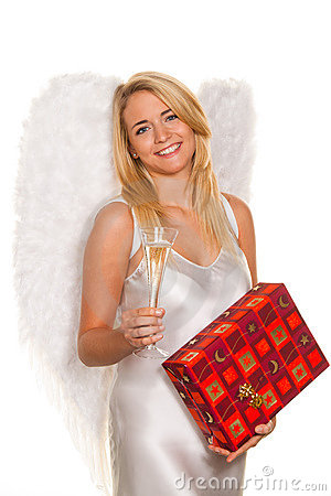 Angels for Christmas with packages and gifts.