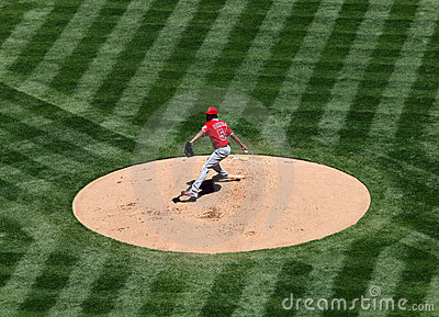 Angels Ervin Santana about to throw a pitch Editorial Stock Image