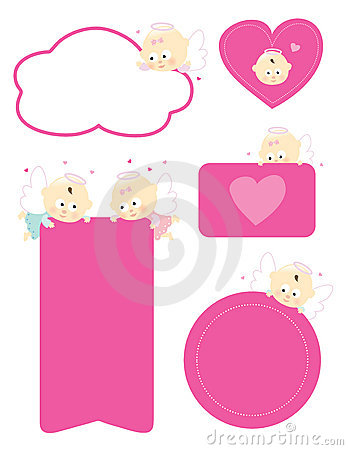 Angels holding signs isolated set
