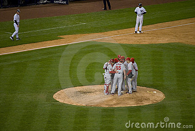 Angels Huddle 2009 ALCS Editorial Stock Photo