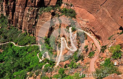 Angels Landing trail from above in Zion