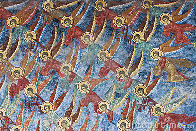 Angels. Painting from Sucevita monastery (Romania)