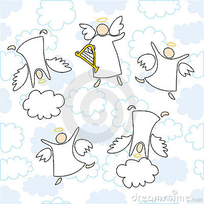 Angels playing and dancing