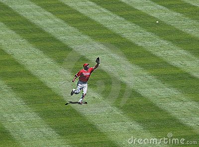 Angels Torii Hunter running to make a catch Editorial Photography