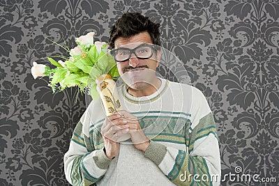 Anger funny man violent expression flowers vase