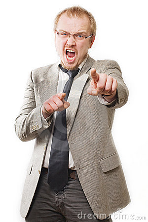 Anger man in suit shouts