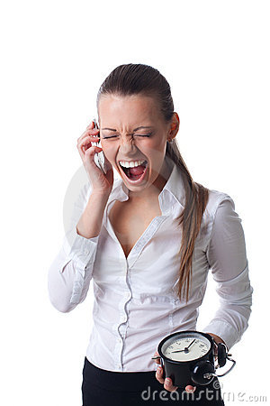 Anger young business woman scream on time limit