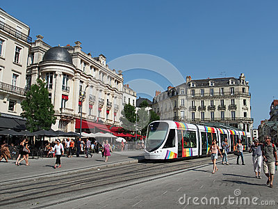 Angers, France, July 2013, tramway in the town center square Editorial Photo