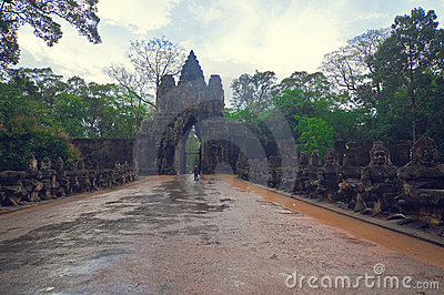 Angkor gate into Angkor Bayon Temple Editorial Stock Photo