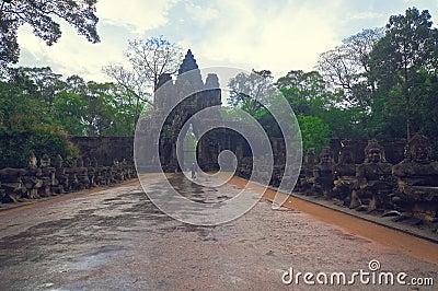 Angkor gate into Angkor Bayon Temple Editorial Stock Photo