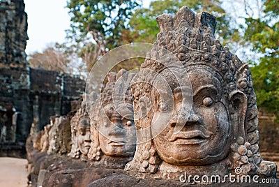 Angkor Thom South Gate faces 8