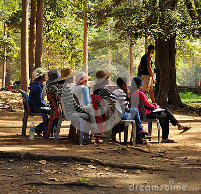Free Angkor Wat, Cambodia. Seated Women Waiting For Customers Stock Photos - 98357633