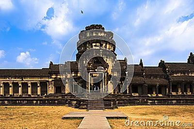 Angkor Wat and flying bird